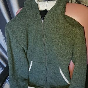 Kuhl L Alpaca Fleece hooded jacket zippered green